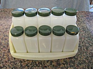 Vintage spice set; green lids  for sale at More Than McCoy at http://www.morethanmccoy.com