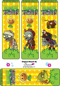 printable plants vs zombies bookmarks