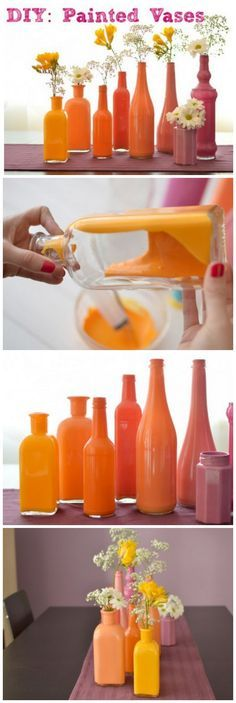 How to make easy DIY painted vases. This would be cool with thrift store vases and then painted in bright jewel tones.
