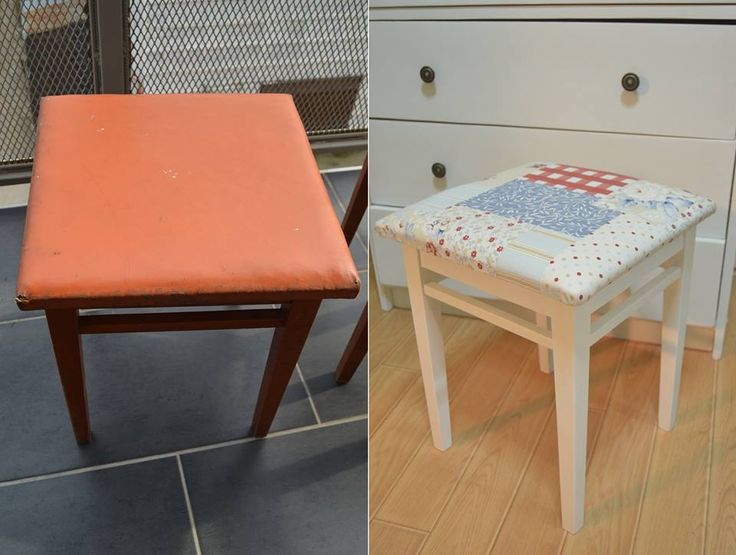 Old chair brought to life with white  paint and new fabric - Before and after