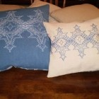 Flickering Flakes pillows woven on  the 2x2 Monk's Cloth. This pattern is a challenge but worth the effort.
