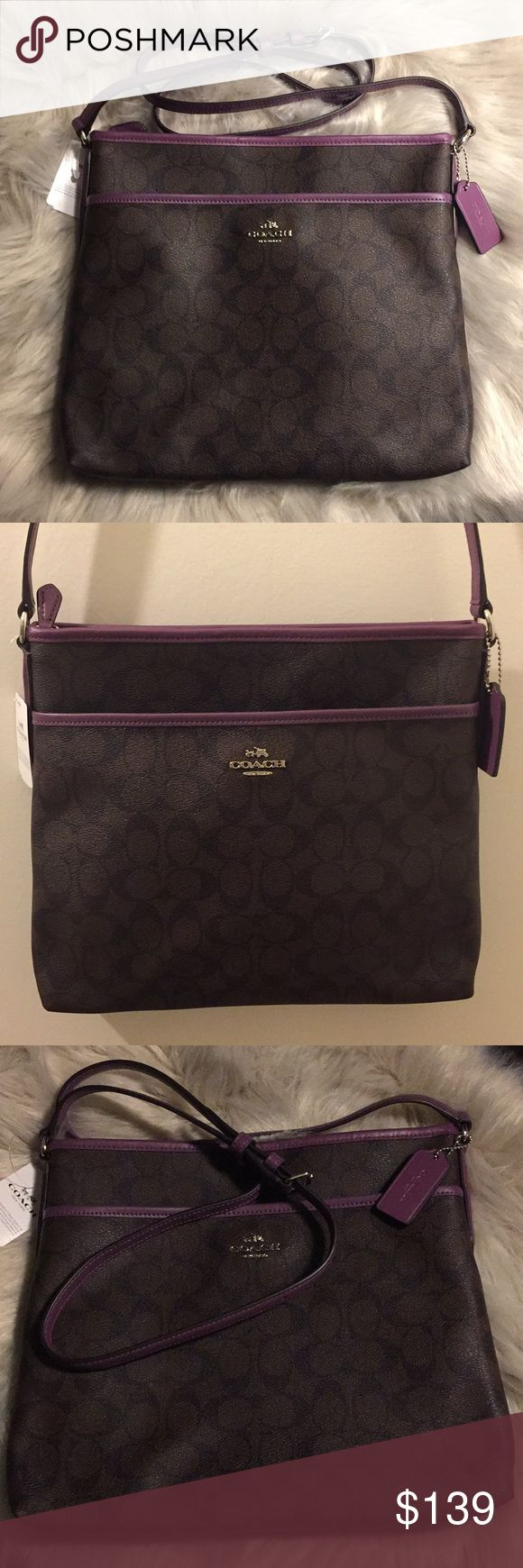 """💯% Authentic Coach Signature Crossbody Bag Beautiful brown/berry color signature coated/jacquard fabric zip-top closure, fabric lining inside zip, cell phone and multifunctional pockets. Long strap with a 21 1/2"""" drop for shoulder or crossbody wear. Very lightweight and excellent for everyday use. Bags Crossbody Bags"""