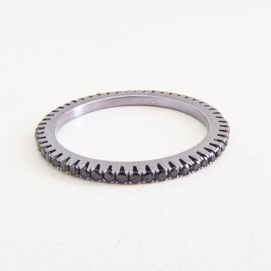 Silver Cataforesi and Black Swarovski Ring $390.00- Margaux Wenger Bijoux