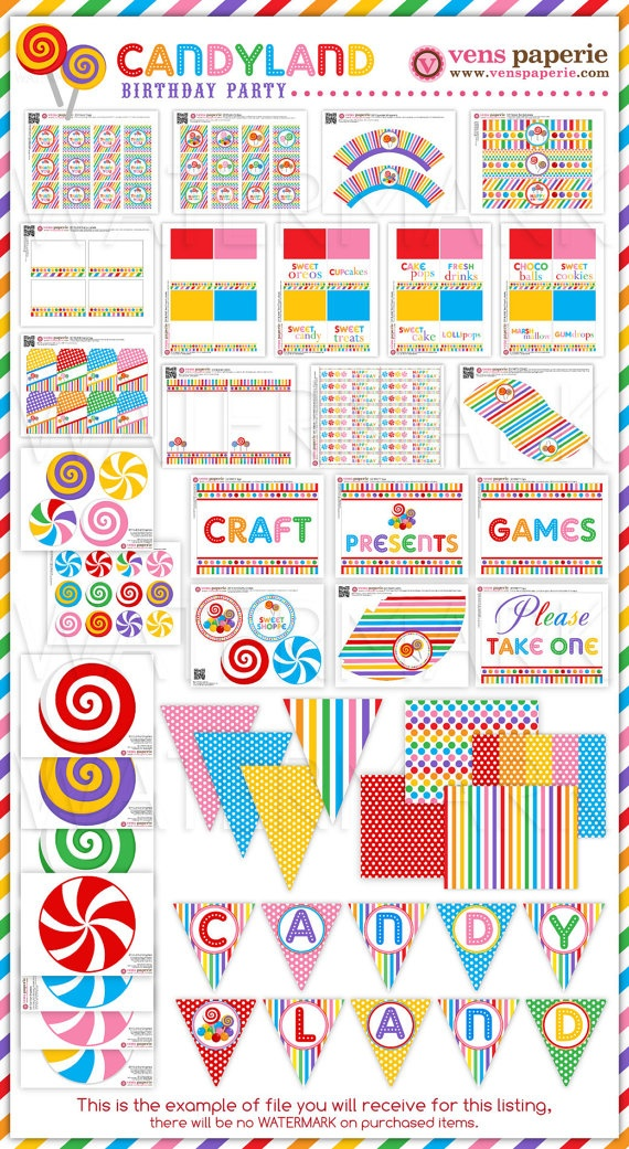 Candyland Birthday Party Package Personalized FULL Collection Set - PRINTABLE…