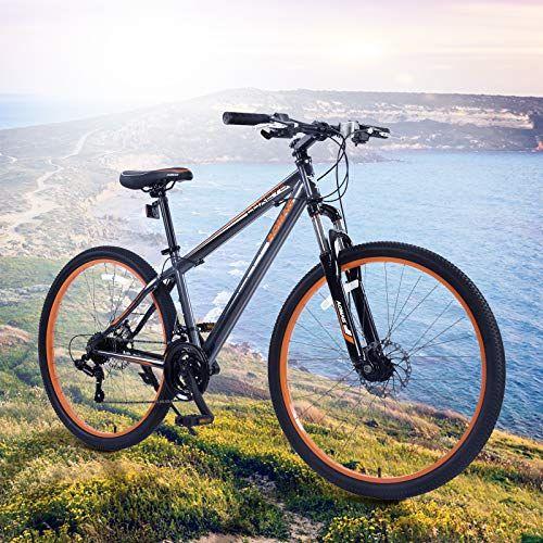 Orkan 27 5 Mtb Shimano Hybrid 21 Speed Mountain Bike Mountain Bike Grey Orange Hybrid Bike Mountain Biking Mountain Bike Frames