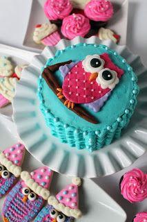 Owl smash cake for first birthday