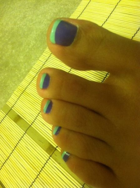 summer french pedicure. Cute colors!