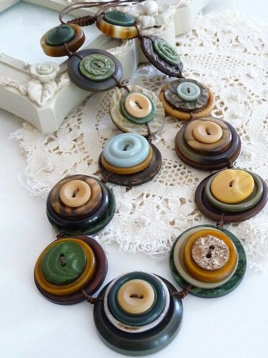 ⊙ Cute as a Button ⊙  artful button crafts and diy inspiration - button necklaces