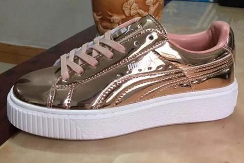 plus de photos a6973 5f9ff Puma Rihanna X Creepers Casual Shoes Rose Gold Pink Leather ...