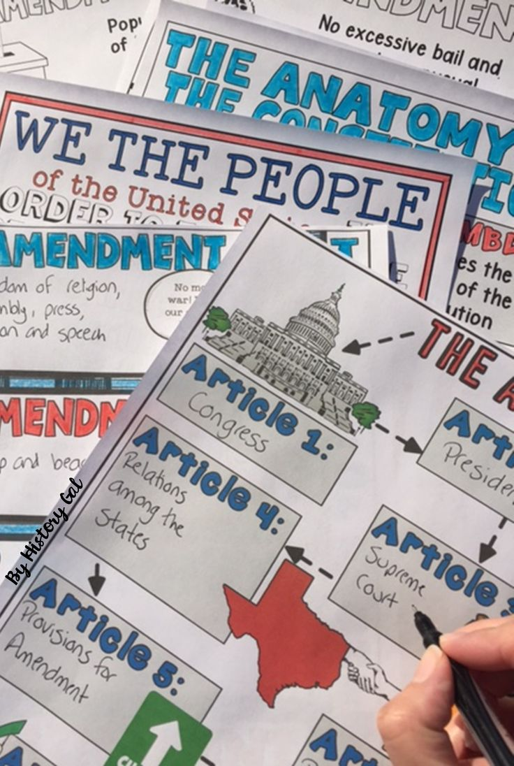 Students will color and doodle as they take notes to learn about the U.S. Constitution. These graphic doodles notes summarize the parts of the United States Constitution: the preamble, the articles, the Bill of Rights, and the amendments. These are great for your 8th, 9th, 10th, and 11th grade classroom and homeschool students! Make American History come to life with this no prep, engaging resource! $