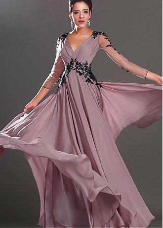 Elegant Satin Chiffon & Stretch Satin V-Neck A-Line Military Dresses