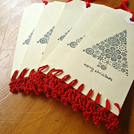 Hand Crocheted & Stamped Gift Tags  Red Christmas by Foundation18.    All profits go to the Foundation 18 orphanage in Indonesia