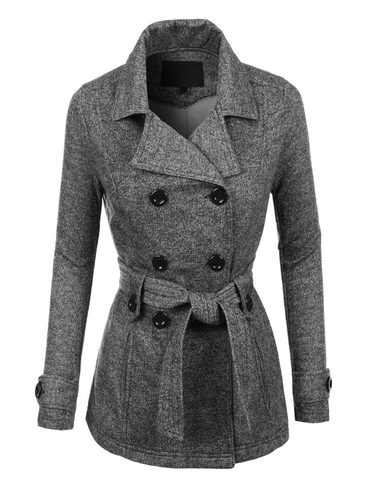 Stay cozy in this double breasted fleece pea coat jacket with pockets. This classic style coat is made of a super soft fleece material that will keep you warm from day to night. Pair it with your favo