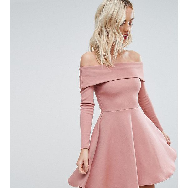 ASOS PETITE PREMIUM Heavy Rib Bardot Skater Dress (70 AUD) ❤ liked on Polyvore featuring dresses, petite, pink, short dresses, long-sleeve fit and flare dresses, pink dress, short pink dress and short fit and flare dress