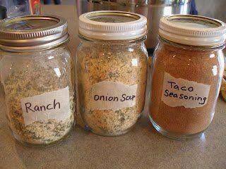 Mason-jar recipes for homemade taco seasoning, dry onion soup mix and ranch dressing | Jill Cataldo