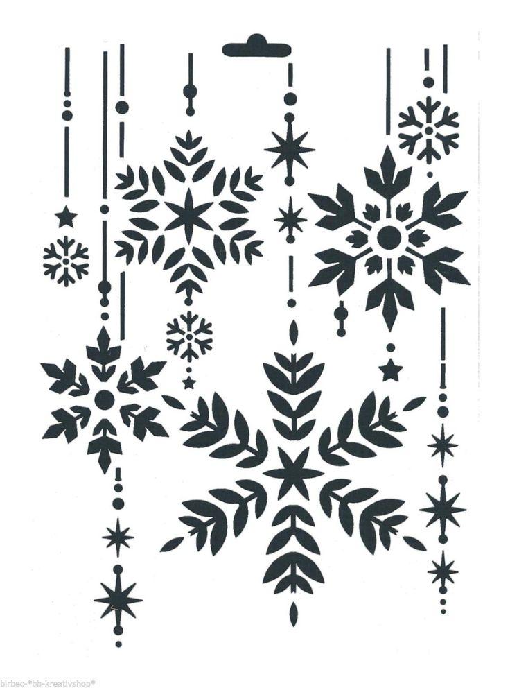 Schablone HEIKE SCHÄFER Create yr Fashion Textil Stencil WEIHNACHTEN KRISTALLE