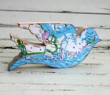 Birds of the World Wooden Bird with North Carolina Beach Map by Silvery Moon Art modern accessories and decor