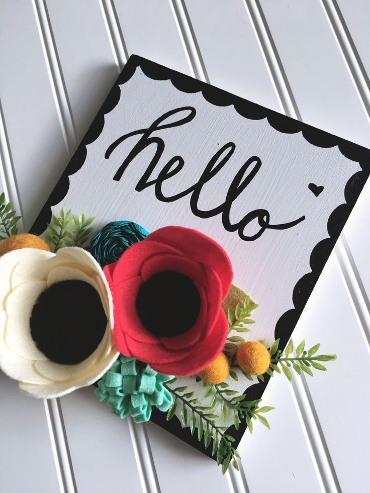 Hello Wood Sign, Felt Flowers, Pink, Mustard by PrettyPineDesigns on Etsy https://www.etsy.com/listing/495125484/hello-wood-sign-felt-flowers-pink