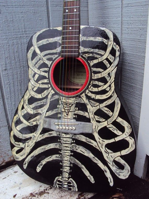 Bare Bones Hand Painted Acoustic Guitar Rib Cage by RaysHobbies