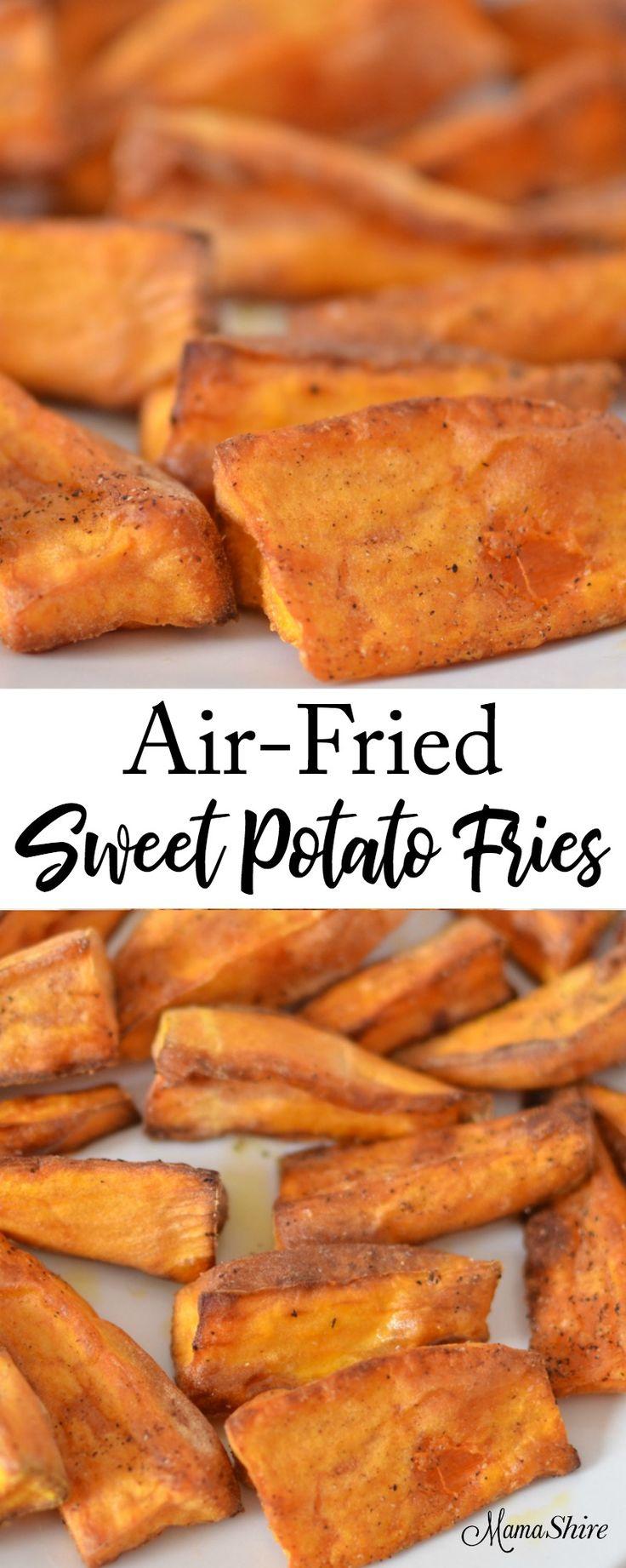 Air-Fried Sweet Potato Fries - Crispy on the outside, tender on the inside! Gluten-free, Trim Healthy Mama-E #airfryerrecipes #sweetpotatofries #trimhealthymama #healthyrecipes