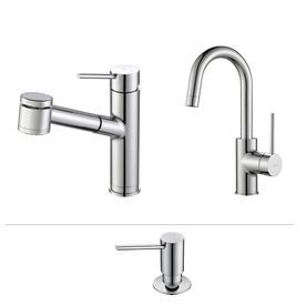 Kraus Quick Install Kitchen Faucet Chrome 1 Handle Handle Pull Out Sink