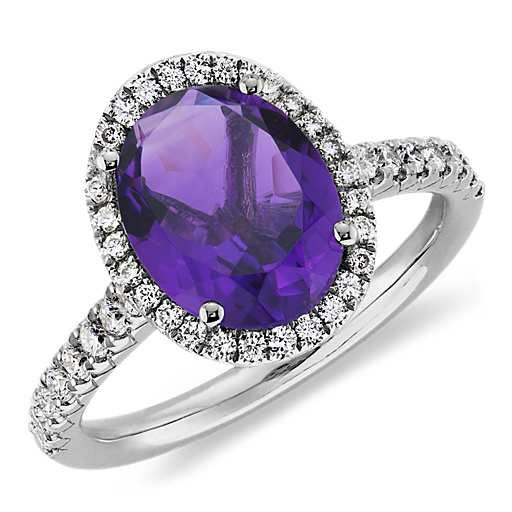 Amethyst and Diamond Ring in 18k White Gold (10x8mm) I wasn't sure about the oval, but it's growing on me. And I love the pave diamonds!