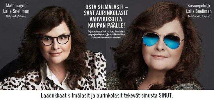 Mallimoguli/kosmopoliitti Laila Snellman tähdittää Synsamin kevättarjousta. / Synsam