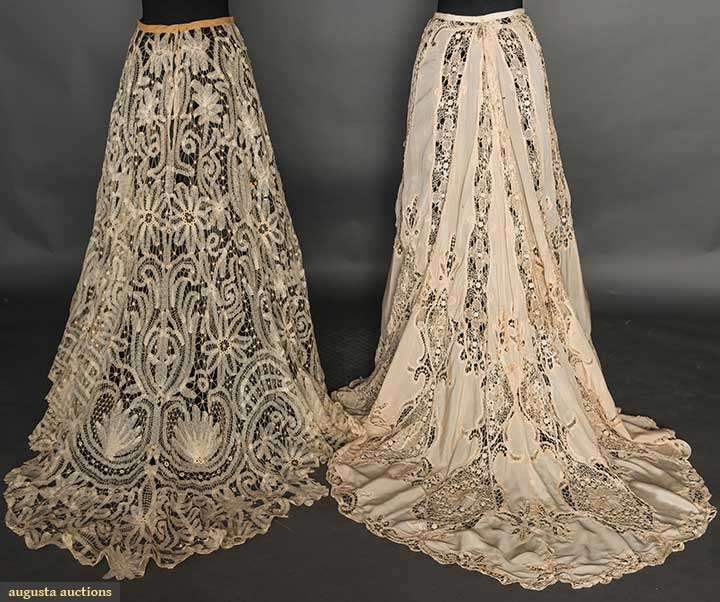 "Two Belle Epoque Lace Skirts, C. 1905, Augusta Auctions, April 8, 2015 NYC, Lot 85  Both beige & w/ trains: 1 silk w/ torchon & tape lace insertions, W 26"", L 42""-58"", (scattered stains, half inch L shaped tear in B) fair; 1 Battenburg lace w/ blossom & fan motifs, W 26"", L 42""-52"", excellent."