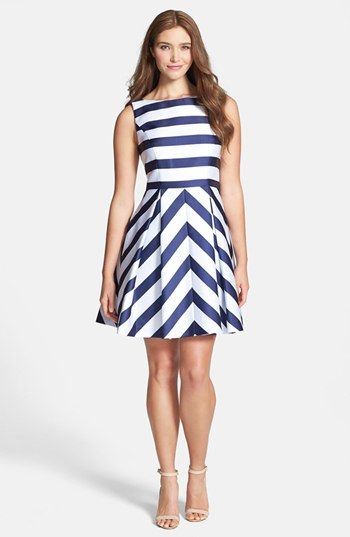 Jessica Simpson Stripe Fit Flare Dress available at #Nordstrom it's absolutely adorable!!