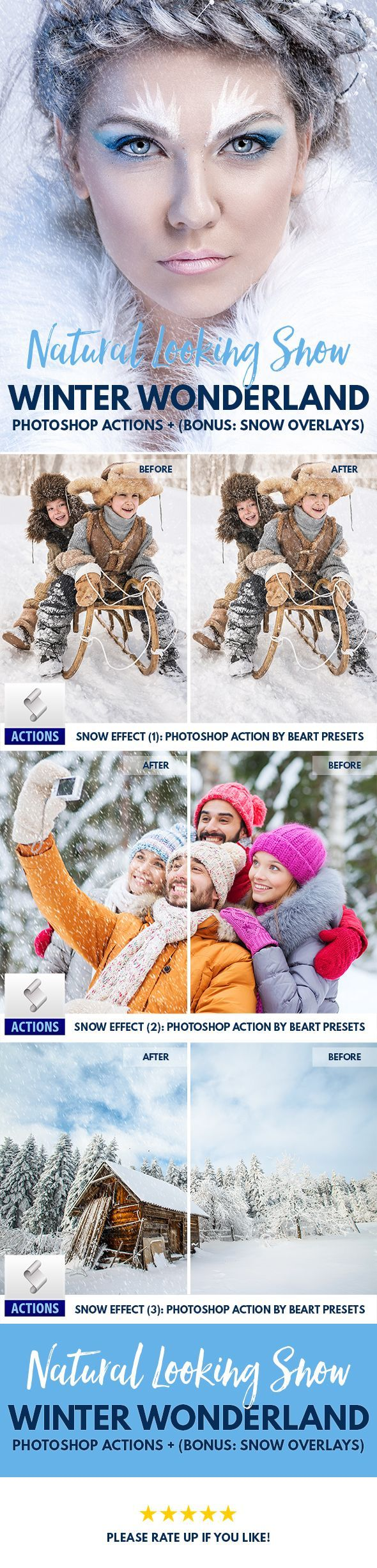 How easily add a Real Snow to your picture? Get this Real Snow Effect Photoshop Actions - Brushes - Overlay | Photography Tips