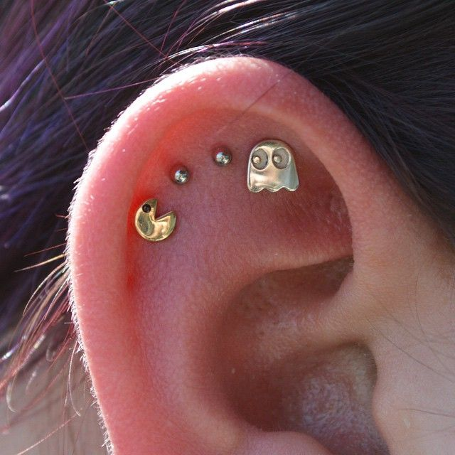 """girlyplugs: """"Yellow Gold Pac-Man and White Gold Ghost Instagrams: xchrisxpiercerx & safepiercing """""""