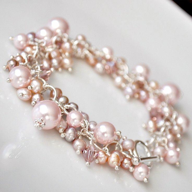 Pink Freshwater Pearl Cluster Bracelet. Chunky Bridal Bracelet. Statement Pearl Wedding Bracelet. Dusty Rose Peach Wedding Jewellery. $145.00, via Etsy.