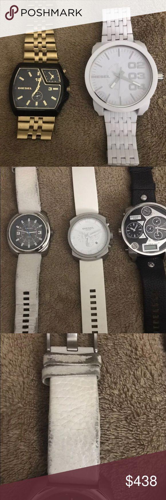 DIESEL Watch LOT Listing is for FIVE watches  DZ-1450 DZ- 1408 DZ- 1246 DZ- 1461 DZ-7125  All batteries have been replaced!! Diesel Accessories Watches