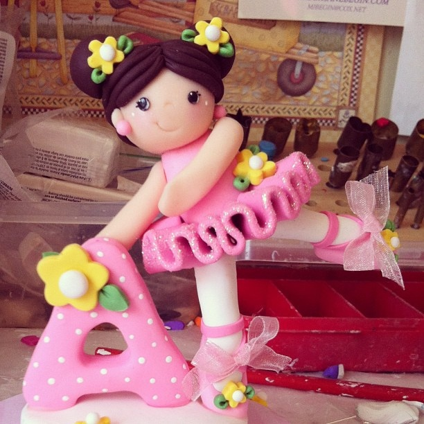 Little Ballerina topper   created from polymer clay
