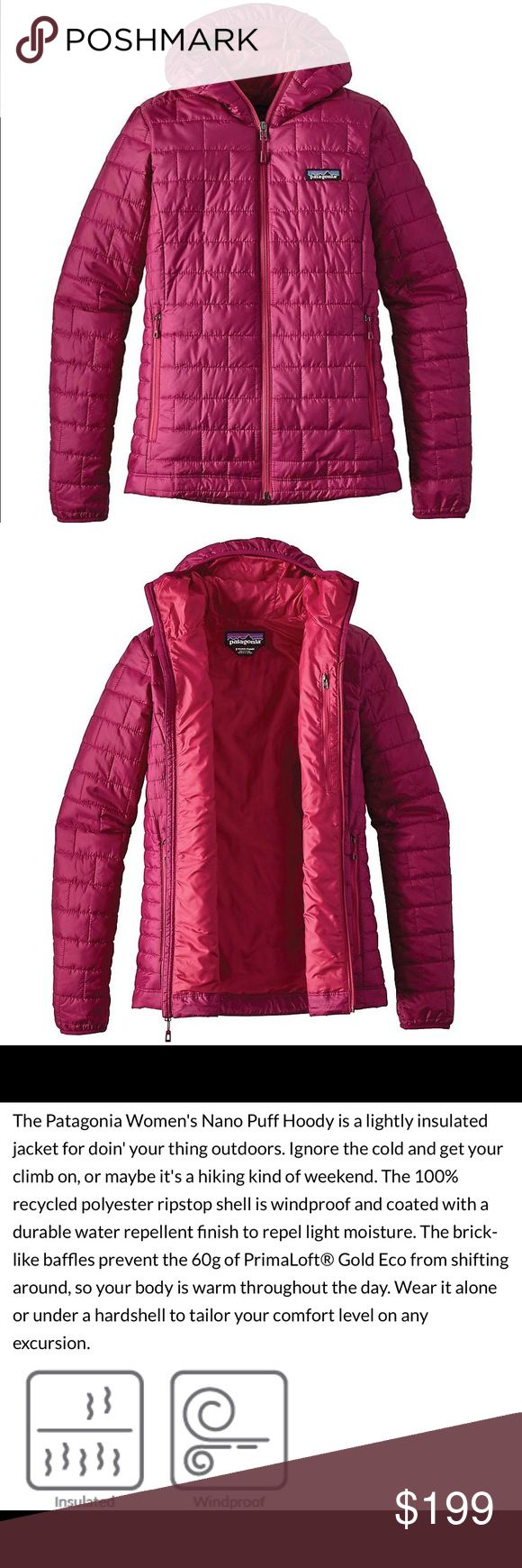 Patagonia Nano Puff Hoody Magenta Puffer Jacket Brand new with tags! Size XL. I don't even know how to say how amazing this jacket is! It's lightweight YET so so warm. I guess that's why it retails for so much. The reviews are so high on this jacket because it delivers! It is right on trend, it is super cute, and most definitely.. so incredibly warm. Please see the photos I have with all of the details and features. I am pricing mine lower than any other jacket like it's kind on the…