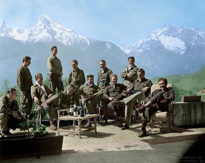 "'Hitlers Wine'  Easy Company 2nd Battalion of the 506th Parachute Infantry Regiment of the 101st Airborne Division the ""Screaming Eagles""  Drinking Hitlers wine at his Eagles Nest retreat.  Colourised by Paul Reynolds. http://wrhstol.com/2r8XYyY"