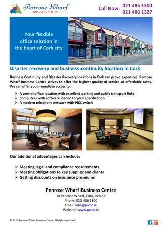 Business Continuity and Disaster Recovery locations in Cork can prove expensive. Penrose Wharf Business Centre strives to offer the highest quality of service at affordable rates.Please Contact us:Penrose Wharf Business Centre,14 Penrose Wharf,City:Cork City Centre,State:Cork,Phone:021 486 1300,Fax:021 486 1327,Web:http://www.pwbc.ie http://issuu.com/penrosewharf/docs/disaster_recovery_and_business_cont