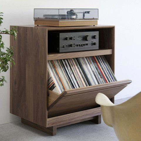 LP Storage Cabinet by SYMBOL audio - Handcrafted in solid walnut.