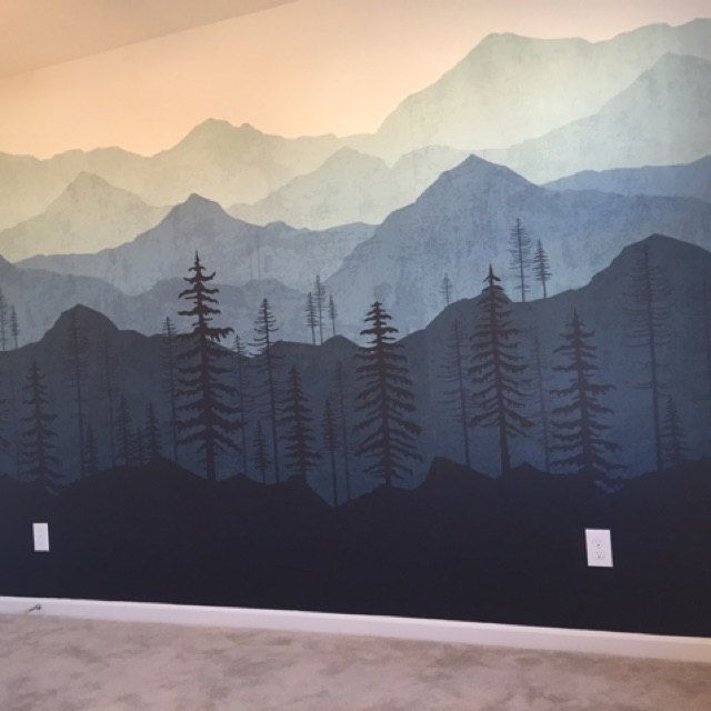 Mountain Wallpaper, Woodland Wallpaper, Forest Tree, Blue Ombré, Mural Wallpaper, Wall Mural, Kids Wallpaper, Removable Wallpaper | W1080