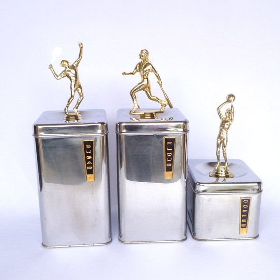 VINTAGE TROPHY CANNISTERS/ Upcycled Trophy Art