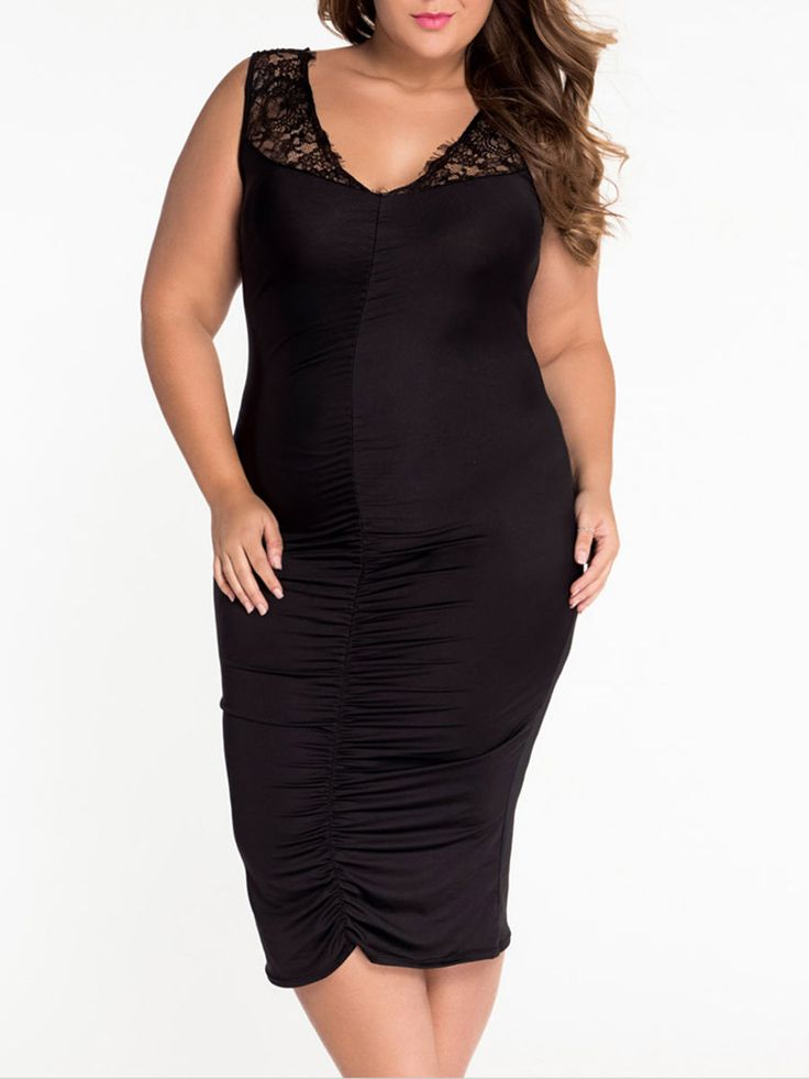 Deep V-neck Hollow Out Patchwork Plain Plus Size Bodycon Dress Only $14.95 USD More info...