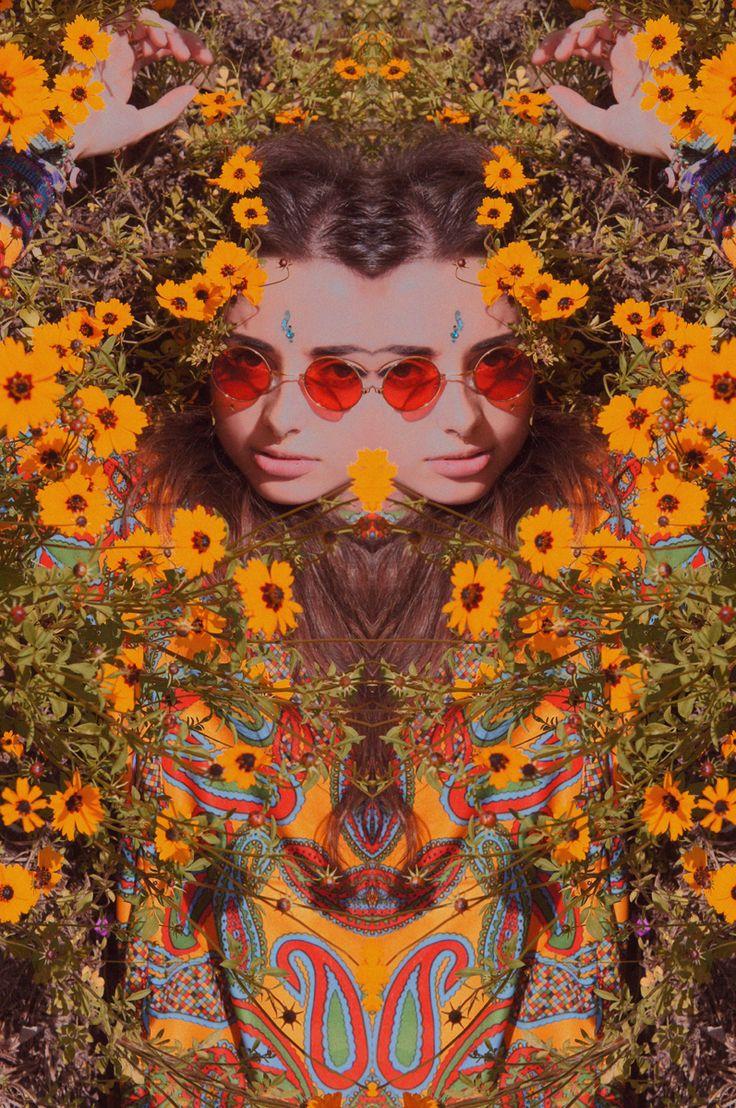 Love flower power daisy graffiti print cotton fabric 60s 70s retro - Distort And Glasses Flower Child