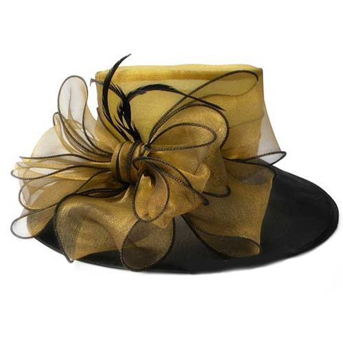 Women Black Gold Organza Wide Brim Church Dress Derby Hats Formal Wear  SKU-158190