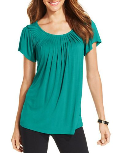 Women's | Tops | Solid Pleated-Neck Top | Hudson's Bay