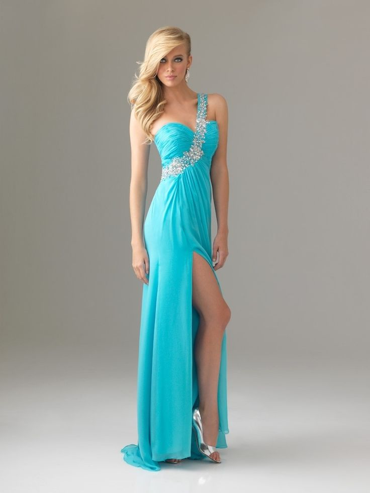 prom dresses prom dresses for teens prom dresses short blue slitted empire one-shoulder floor-length chiffon prom dress