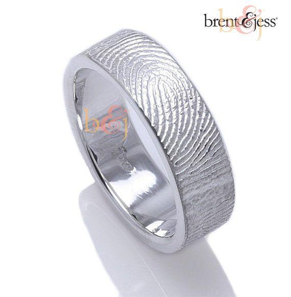 Custom Fingerprint Wedding Band with Fingerprint by fabuluster, $225.00