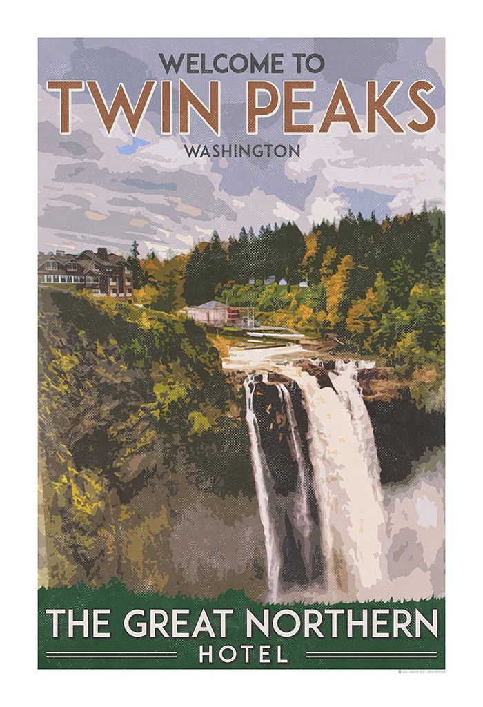 The Great Northern Hotel, Twin Peaks vintage travel poster inspired by the TV show's hotel. Use it for interior design or home decor, would look perfect in your home, kitchen, next to coffee maker, ba