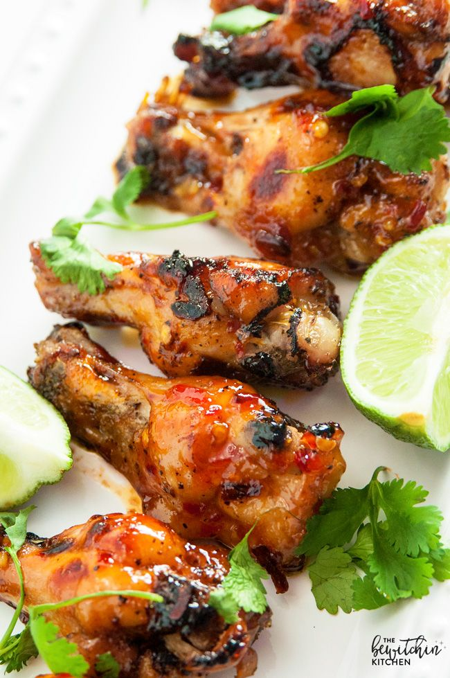 Spicy Thai Chicken Wings is a sweet twist on hot wings using thai chili sauce, limes, sriracha. A favorite appetizer for the game, tailgating or a party.
