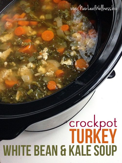 Crockpot Turkey White Bean and Kale Soup-- this will work as a thm e meal because of beans and carrots.