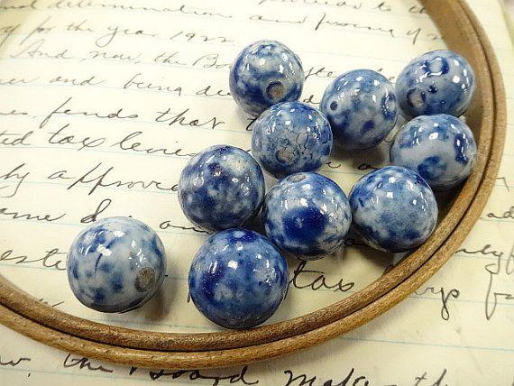 Bennington Glazed Clay Blue Old Marble Lot 10 Ea Larger